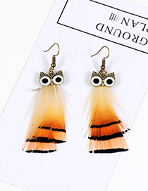 Vintage Orange Owl Shape Design Simple Earrings