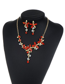 Fashion Red Flower Shape Decorated Jewelry Sets