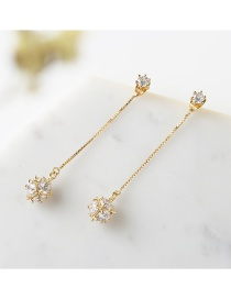 Elegant Gold Color Round Shape Diamond Decorated Earrings