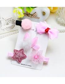 Lovely pink Stars&bowknot Decorated Color Matching Hairpin (5pcs)