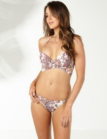 Fashion Multi-color Painting Flower Pattern Decorated Bikini