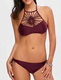Fashion Claret Red Pure Color Decorated Hollow Out Bikini