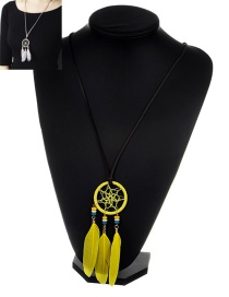 Bohemia Yellow Feather Pendant Decorated Necklace