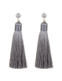 Bohemia Gray Tassel Decorated Earrings