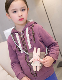 Lovely Pink Rabbit Decorated Color Matching Purse