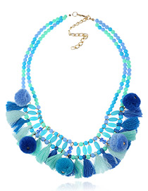 Fashion Blue Tassel&fuzzy Ball Decorated Double Layer Pom Necklace