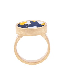 Fashion Gold Color Round Shape Gemstone Decorated Color Matching Ring
