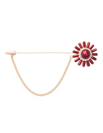 Fashion Gold Color+red Tassel&flower Decorated Color Matching Brooch