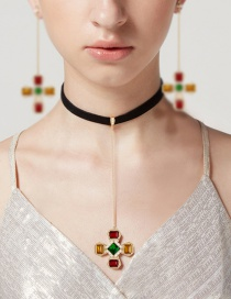 Fashion Multi-color Flower Pendant Decorated Color Matching Choker