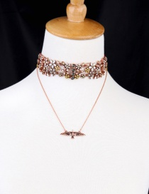 Fashion Red+gold Color Little Bird Decorated Double Layer Necklace