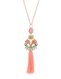 Fashion Pink Long Tassel Pendant Decorated Hollow Out Necklace