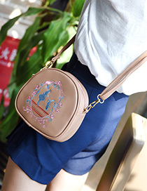Fashion Khaki Cartoon Pattern Decorated Mini Shoulder Bag