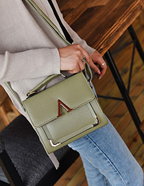 Fashion Green Letter V Decorated Pure Color Shoulder Bag