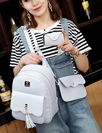 Fashion Gray Tassel Decorated Pure Color Backpack(3pcs)