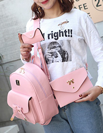 Fashion Pink Bowknot Decorated Pure Color Backpack(3pcs)