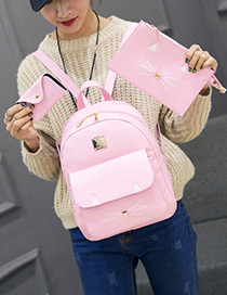 Lovely Pink Cartoon Cat Decorated Pure Color Backpack(3pcs)