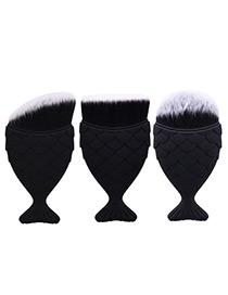 Trendy Black Pure Color Decorated Mermaid Makeup Brush(3pcs)