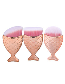 Trendy Rose Gold Pure Color Decorated Mermaid Makeup Brush(3pcs)