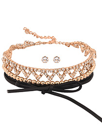 Vintage Gold Color Bowknot&diamond Decorated Hollow Out Choker