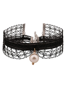 Fashion Black Pearl Decorated Pure Color Hollow Out Choker