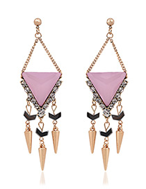 Exaggerated Pink Bullet Pendant Decorated Tassel Design Earrings