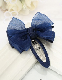 Lovely Navy Bowknot Decorated Pure Color Hairpin