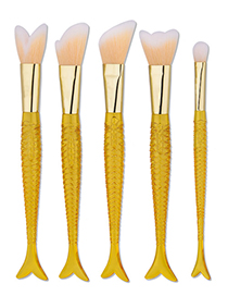 Fashion Yellow Pure Color Decorated Mermaid Makeup Brush(5pcs)