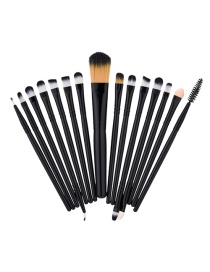 Fashion Black Color Matching Decorated Makeup Brush(15pcs)