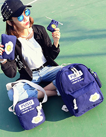 Fashion Sapphire Blue Eggs Pattern Decorated Simple Backpack (4pcs)