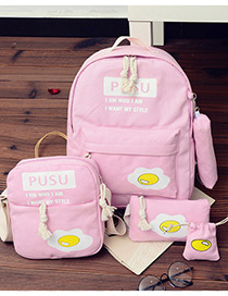 Fashion Pink Eggs Pattern Decorated Simple Backpack (4pcs)