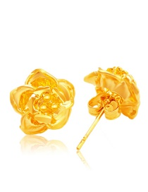 Fashion Gold Color Flower Decorated Pure Color Simple Earrings (12pcs)