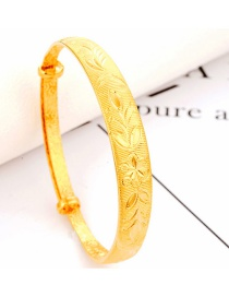 Fashion Gold Color Flower Decorated Pure Color Simple Bracelet
