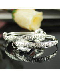 Fashion Silver Color Chinese Pattern Decorated Pure Color Bracelet