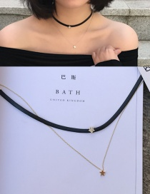 Fashion Gold Color Stars Pendant Decorated Double Layer Choker