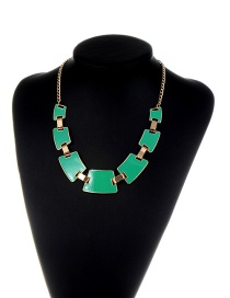 Fashion Green Geometric Shape Decorated Color Matching Necklace