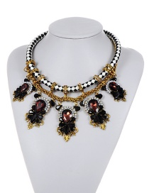 Fashion Black Water Drop Shape Diamond Decorated Double Layer Necklace