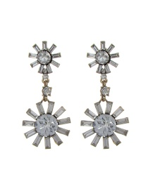 Fashion White Sun Shape Decorated Pure Color Earrings