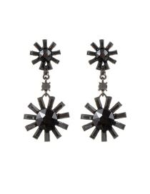 Fashion Gun Black Sun Shape Decorated Pure Color Earrings