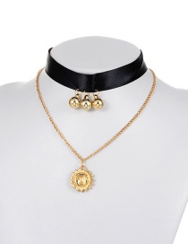 Fashion Gold Color Sun Pendant Decorated Double Layer Choker