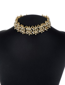Fashion Champagne Flower Decorated Pure Color Choker