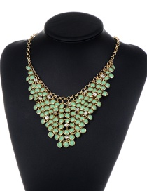 Fashion Green Pure Color Decorated Hollow Out Necklace