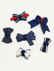 Elegant Navy Bowknot Shape Decorated Color Matching Hair Clip (6 Pcs)