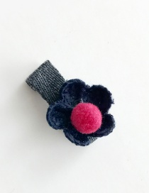Elegant Navy Flower Shaped Decorated Color Matching Pom Hair Clip