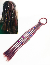 Fashion Claret Red Bead Decorated Weave Pure Color Hair Rope
