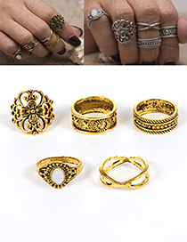 Fashion Gold Color Flower Decorated Hollow Out Ring (5pcs)