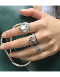 Fashion Silver Color Crescent Shape Decorated Pure Color Ring(4pcs)