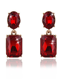 Exaggerated Red Square Shape Gemstone Decorated Pure Color Earrings