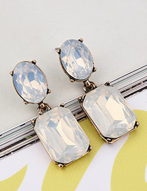 Exaggerated  Square Shape Gemstone Decorated Pure Color Earrings