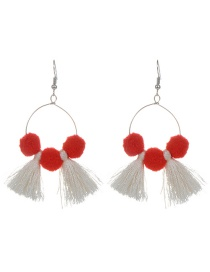 Fashion Beige Tassel&fuzzy Ball Decorated Simple Pom Earrings