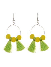 Fashion Light Green Tassel&fuzzy Ball Decorated Simple Pom Earrings